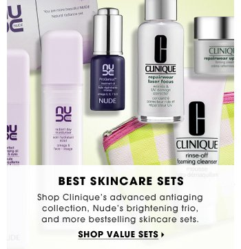Best Skincare Sets. Shop Clinique's advanced antiaging collection, Nude's brightening trio, and more bestselling skincare sets. Shop value sets