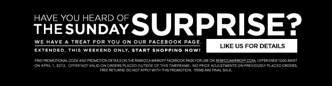 Introducing The Sunday Surprise! Like Us on Facebook for More Details.