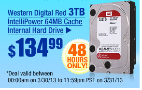 $134.99 -- Western Digital Red 3TB IntelliPower 64MB Cache Internal Hard Drive
