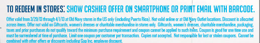TO REDEEM IN STORES: SHOW CASHIER OFFER ON SMARTPHONE OR PRINT EMAIL WITH BARCODE.