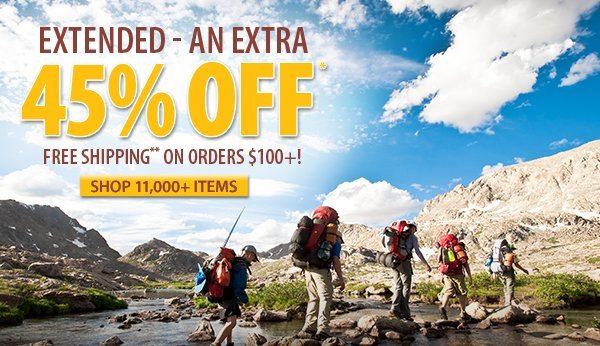 An extra 45% OFF over 11,000 items!