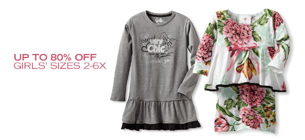 UP TO 80% OFF: GIRLS' SIZES 2-6X, Event Ends April 4, 9:00 AM PT >