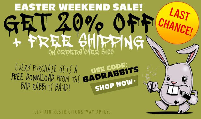 20% Off + Free Ship + Soundcloud Free Download: Bad Rabbits