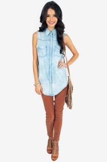 Sun Bleached Denim Shirt $36