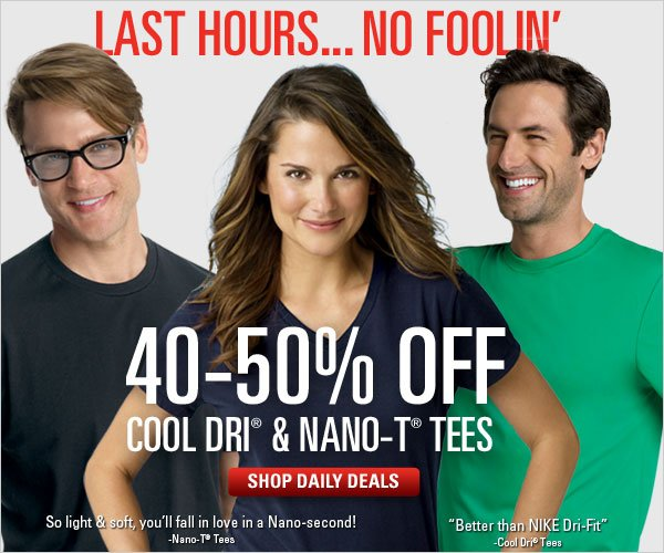 40-50% off Cool Dri and Nano-T Tees