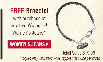 Free Bracelet with purchase of any two Wrangler® Women's Jeans, Shop Women's Jeans