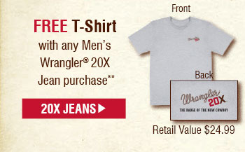 Free T-Shirt with any Men's Wrangler® 20X Jean purchase, Shop 20x Jeans