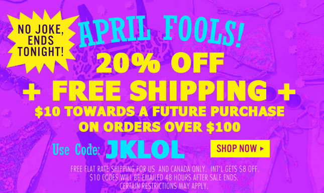 Ends Tonight: $10 Gift Code + 20% Off + Free Ship!