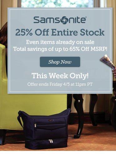 Samsonite 25% Off Entire Stock. Shop Now