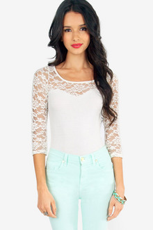 On A Whimsy Lace Top $21