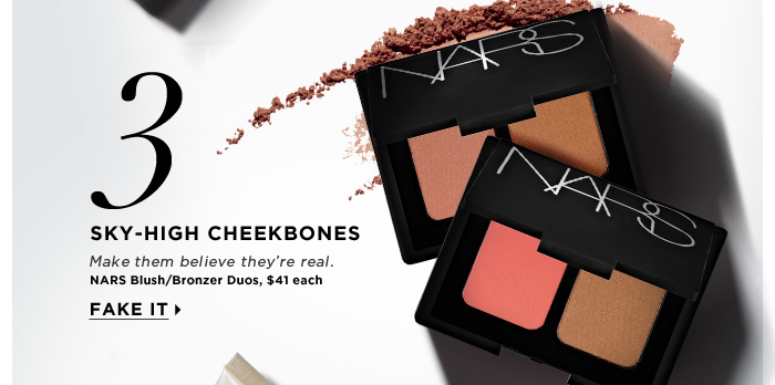 Sky-High Cheekbones. Make them believe they're real. Fake it. NARS Blush/Bronzer Duos, $41 each