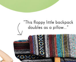 This floppy little backpack doubles as a pillow