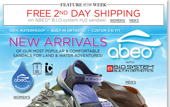 New Feature of the Week! Shop the NEW waterproof ABEO B.I.O.system H2O Collection for women and men and enjoy FREE 2nd Day Shipping.* Exclusively available at The Walking Company, B.I.O.system sandals feature a 3-D fit for the ultimate comfort. Find the best selection when you shop now at The Walking Company.