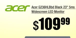 Acer G236HLBbd Black 23 inch 5ms Widescreen LED Monitor