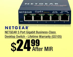 NETGEAR 5 Port Gigabit Business-Class Desktop Switch - Lifetime Warranty (GS105)