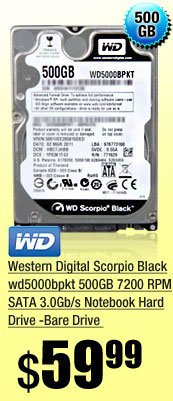 Western Digital Scorpio Black wd5000bpkt 500GB 7200 RPM SATA 3.0Gb/s Notebook Hard Drive -Bare Drive