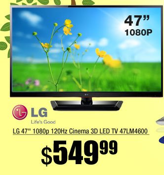 LG 47 inch 1080p 120Hz Cinema 3D LED TV 47LM4600