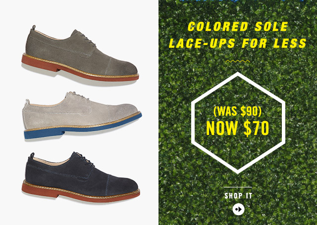 COLORED SOLE LACE-UPS FOR LESS (WAS $90) NOW $70