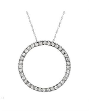 0.5 CTW Diamonds Ladies Necklace Designed In 14K White Gold