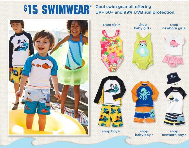 $15 Swimwear. Cool swim gear all offering UPF 50+ and 99% UVB sun protection.