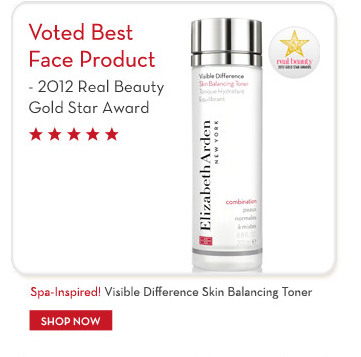 Voted Best Face Product - 2012 Real Beauty Gold Star Award. Spa-Inspired! Visible Difference Skin Balancing Toner. SHOP NOW.