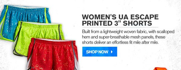 WOMEN'S UA ESCAPE PRINTED 3 INCH SHORTS. SHOP NOW.