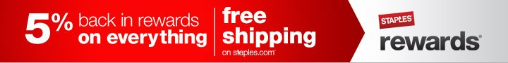 5% back  in rewards. Free shipping on staples.com. Now on everything except  postage, phone/gift cards and savings passes.