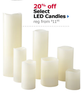 20% off Select LED Candles