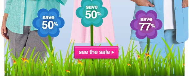this spring fling is blooming with savings - up to 77% off select clothing - shop now