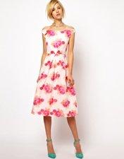 ASOS Prom Dress In Fluro Jaquard