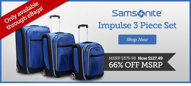 Samsonite Impulse 3 Piece Set. Shop Now