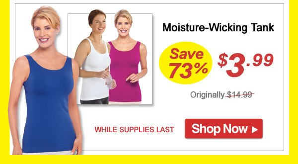 Moisture-Wicking Tank - Save 73% - Now Only $3.99 Limited Time Offer