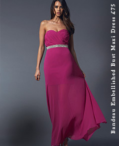 Bandeau Embellished Bust Maxi Dress