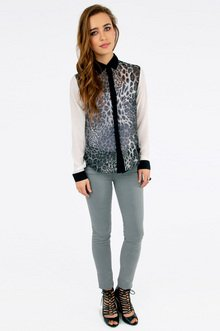 Cat Contrast Blouse $32