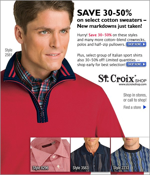 Cotton Sweaters Newly Marked Down in Clearance!