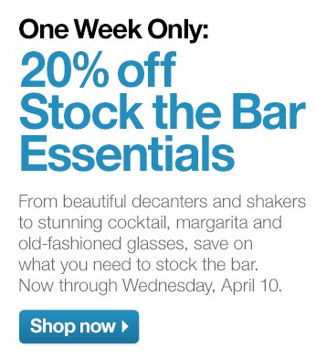 One Week Only: 20% off Stock the Bar  Essentials