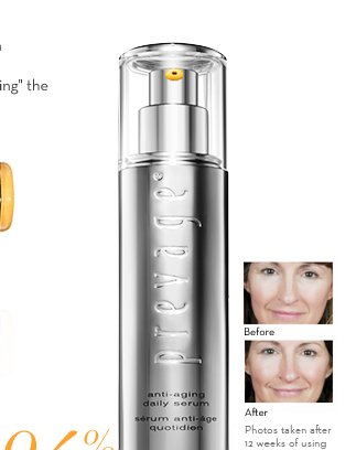 94% of women saw a dramatic improvement in skin's overall appearance after just 4 weeks.*** Best Seller! PREVAGE® Anti-aging Daily Serum $159.00. Before and after.  Photos taken after 12 weeks of using PREVAGE® anti-aging daily serum. Results may vary. SHOP NOW