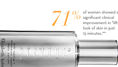 "71% of women showed a significant clinical improvement in ""lifting"" the look of skin in just 15 minutes.**"