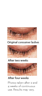 Original consumer lashes. After two weeks. After four weeks. Photos taken after 2 and 4 weeks of continuous use. Results may vary.