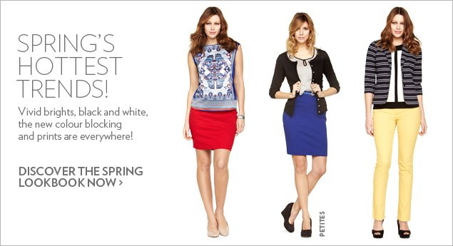 Spring's Hottest Trends! Vivid brights, black and white, the new colour blocking and prints are everywhere!