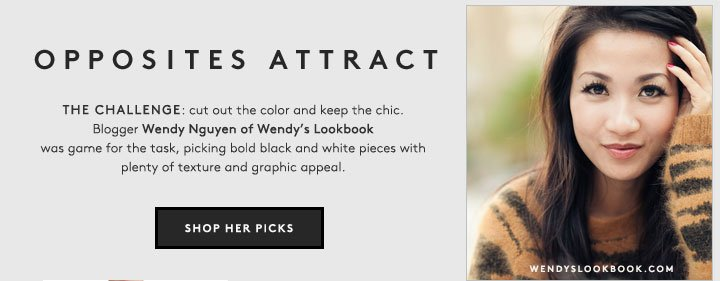 Black and white can be far from basic: shop chic picks from Wendy's Lookbook.