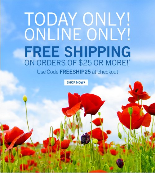 Free Shipping on Orders of $25 or more*
