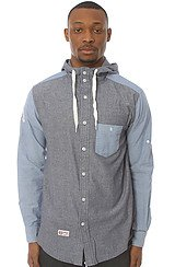 The Academy Hooded Buttondown in Blue