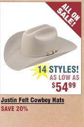 Shop All Justin Felt Hats on Sale