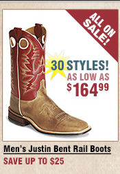Shop All Men's Justin Bent Rail Boots on Sale
