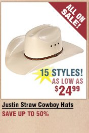 Shop All Justin Straw Hats on Sale