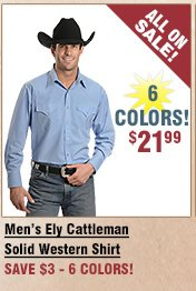 Shop All Men's Ely Cattleman Solid Shirt on Sale