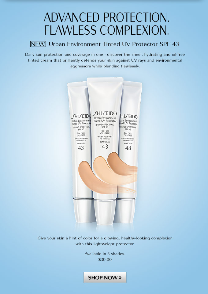 Advanced Protection. Flawless Complexion. NEW Urban Environment Tinted UV Protector SPF 43