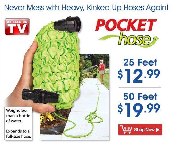 Pocket Hose™ - Never Mess with Heavy, Kinked-Up Hoses Again! From $12.99 - Shop Now >