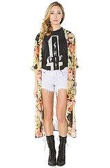 The Floral Kimono Top In Multi